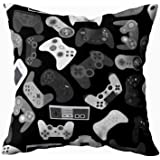 TOMWISH Cusion Pillow Cover,TOMKEY Hidden Zippered 20X20Inch Video Game Controller Background Gadgets Pattern Black…