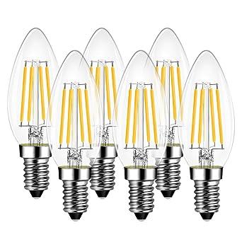 LVWIT Bombillas Vela de Filamento LED E14 (Casquillo Fino) - 4W equivalente a 40W