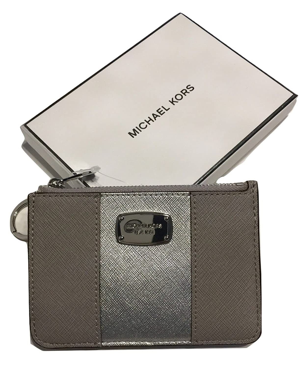 Michael Met Center Stripe SM TZ Coinpouch with ID Pearl Grey/Silver Clutch Wallet