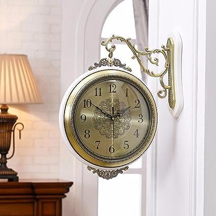 Wall Clocks European Style Double Living Room Watch Clock Creative Silent Clock Quartz Clock Watch Modern & Amazon.com: Wall Clocks European Style Double Living Room Watch ...