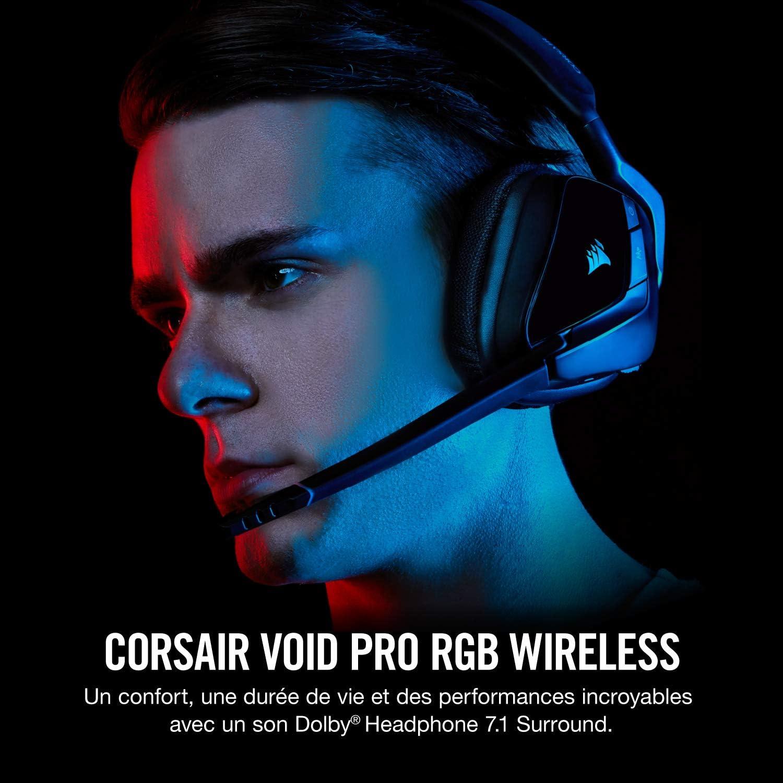 Corsair VOID PRO RGB WIRELESS Casque Gaming (PC, Sans Fil, Dolby 7.1) Noir