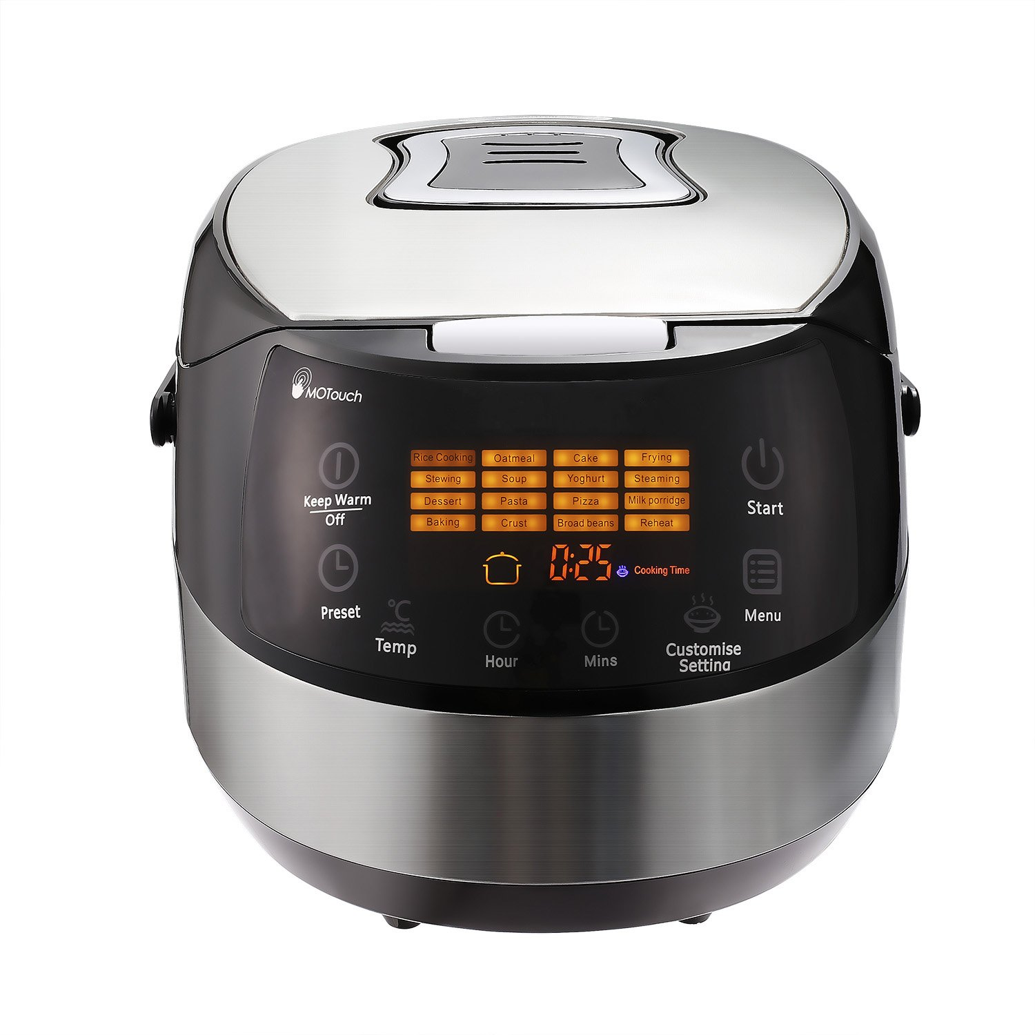 MeyKey Rice Cooker,Stainless Steel Multi-Cooker and Food Steamer,Digital Cool-Touch Slow Cooker,6QT,860W(US STOCK) (6QT RICE COOKER)