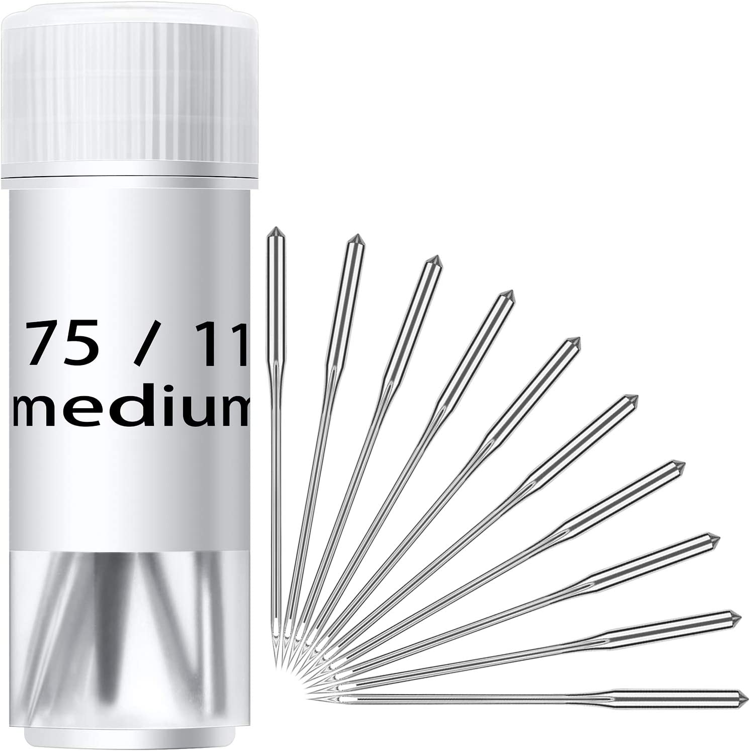 100 Pieces Sewing Needles Home Sewing Machine Needles Size 9, 11, 14, 16, 18, with Needle Bottles with Labels for Singer, Brother, Janome, Varmax 71ZEOOTrApL