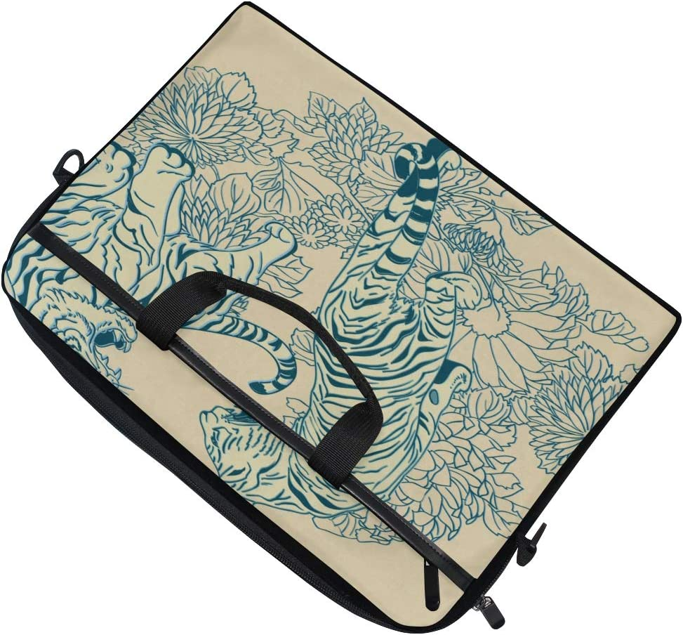 Laptop Bag Two Tigers Chinese Style 15-15.4 Inch Laptop Case Briefcase Messenger Shoulder Bag for Men Women College Students Business People Office