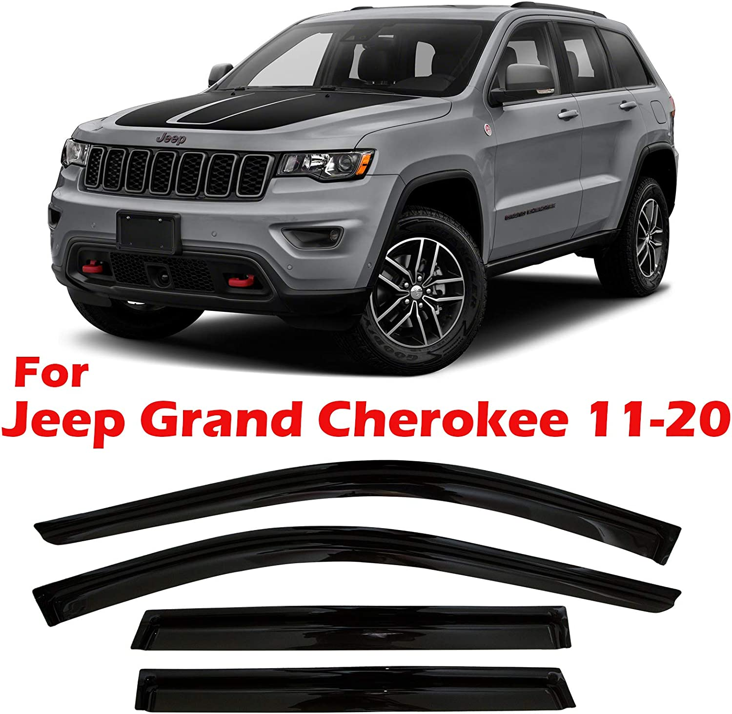 Window Deflectors Original Tape-on Vent Deflector CLIM ART Rain Guards Suitable for Jeep Grand Cherokee 11-20 4 pcs Vent Window Visor - 410032 Rain Guard Dark Smoke Accessories