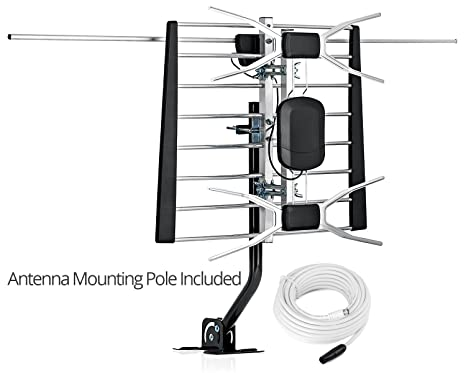 ViewTV 80 Miles Range Digital Passive Outdoor/Indoor Attic HDTV Antenna  with Included Mounting Pole