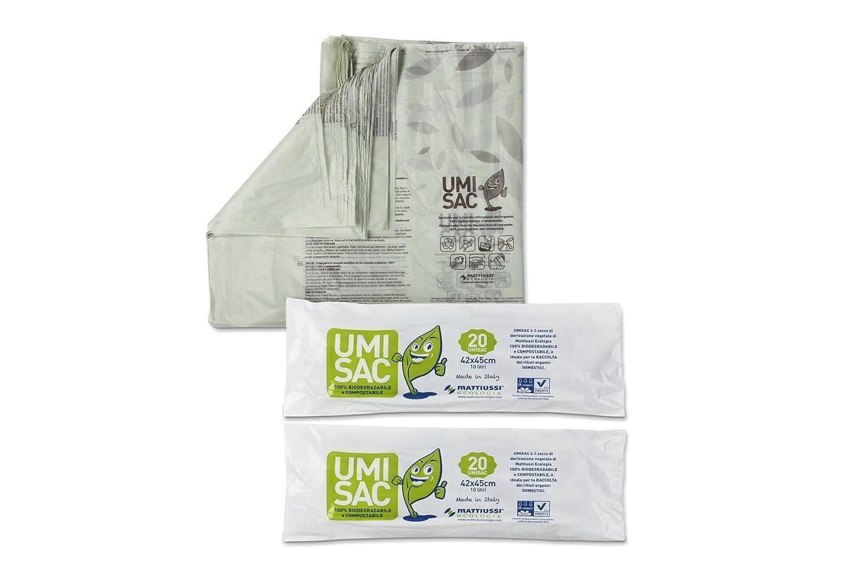 Sacchetti Biodegradabili E Compostabili 10 Lt per La Raccolta dei Rifiuti Organici - 5 Confezioni Mattiussi Ecologia S.p.A.