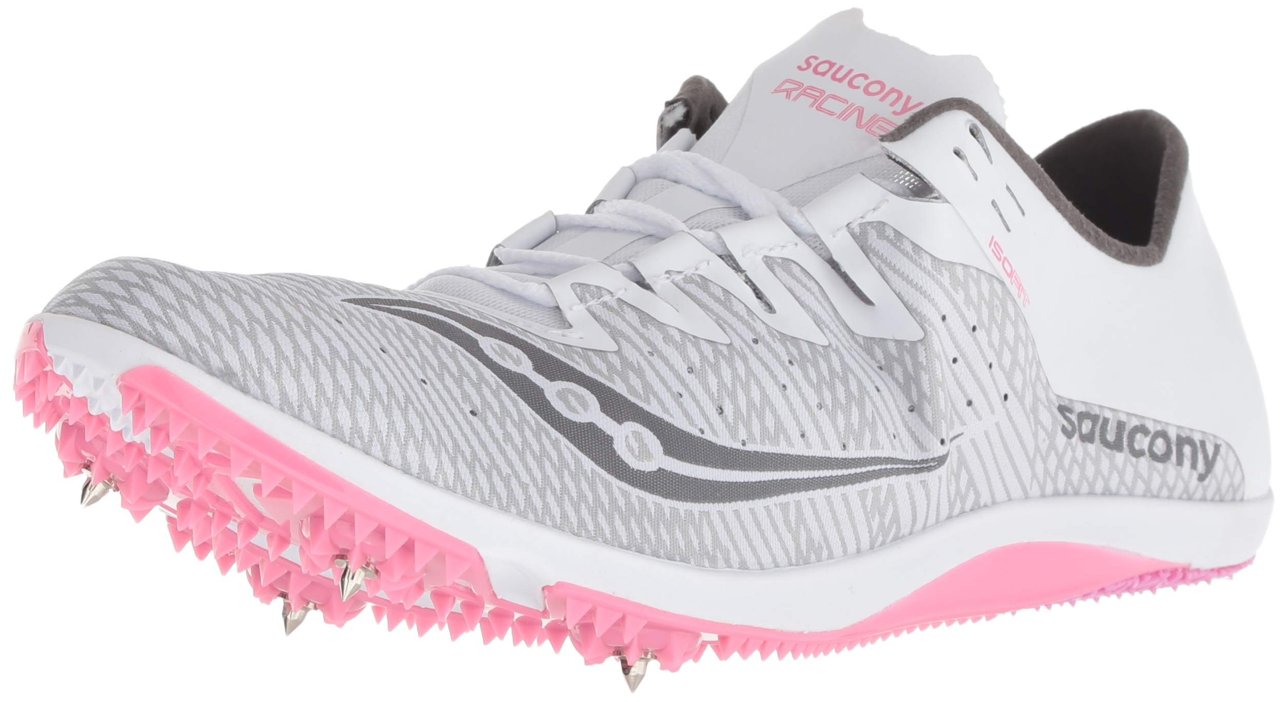 Saucony Women's Endorphin 2 Track Shoe, White/Pink, 7.5 Medium US by Saucony