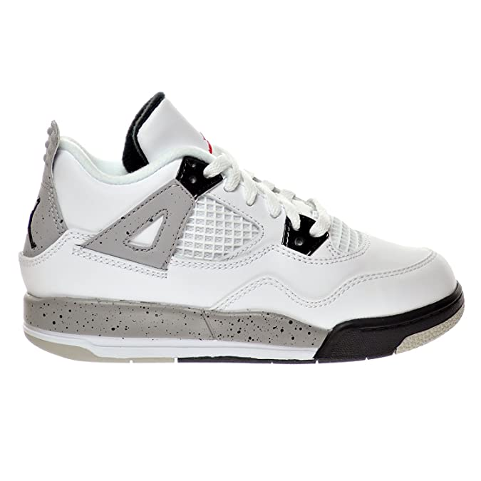 detailed look 3a8be e6bc9 Jordan 4 Retro BP   úCement  Ñ Little Kid s Shoes White Fire  Red Black Matte Silver 308499-104 (2 D(M) US)  Amazon.fr  Chaussures et Sacs