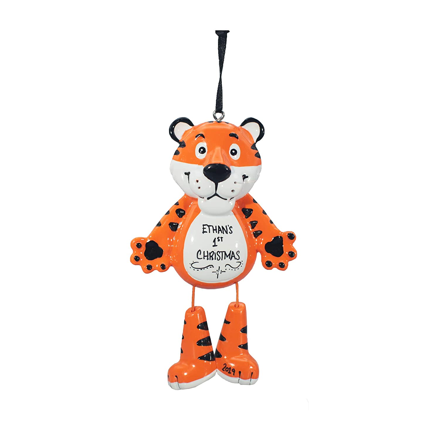 Personalized Christmas Tree Decoration Ornament 2019 – Traditional Home Décor – New Year Santa Gift - Holiday Fun w Hanging Hook - Animal (Tiger) - Free Customization
