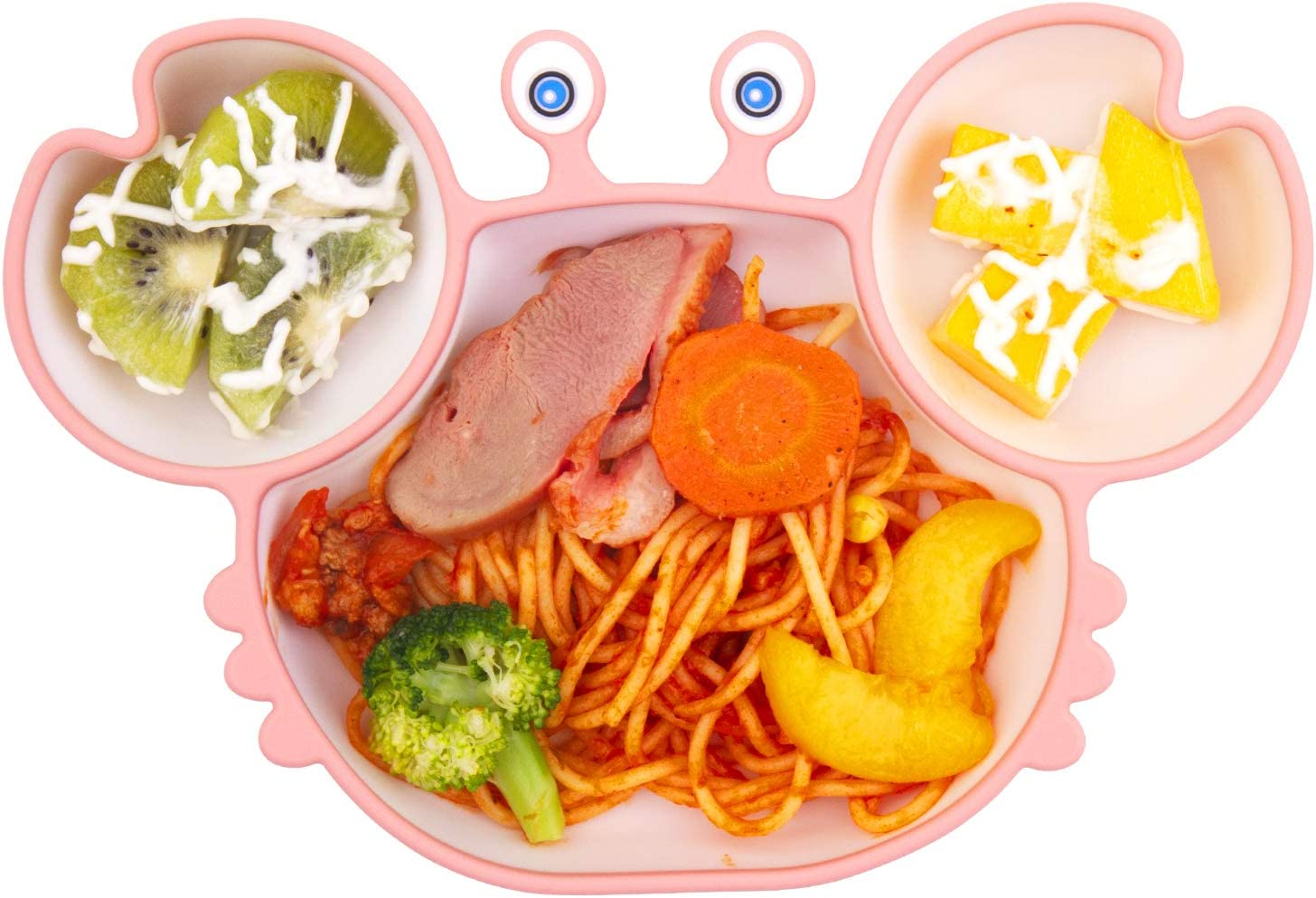 Blue Qshare Baby Suction Plate,Toddler Infant Silicone Non Slip Divided Placemat with Strong Suction Cup Fit Most High Chair BPA-Free Dishwasher /& Microwave Safe Kids Travel Feeding Tray