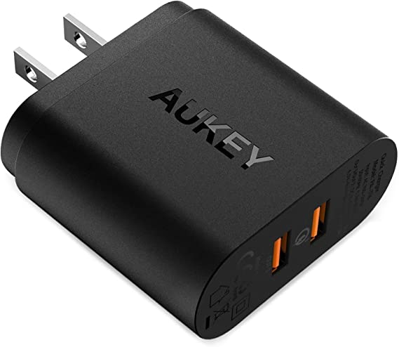 Quick Charge 3.0, AUKEY USB Wall Charger & Dual Ports, Fast Charger Compatible with Samsung Galaxy S9 / S8 / Note8, LG G6 / V30, HTC 10, iPhone 11 ...