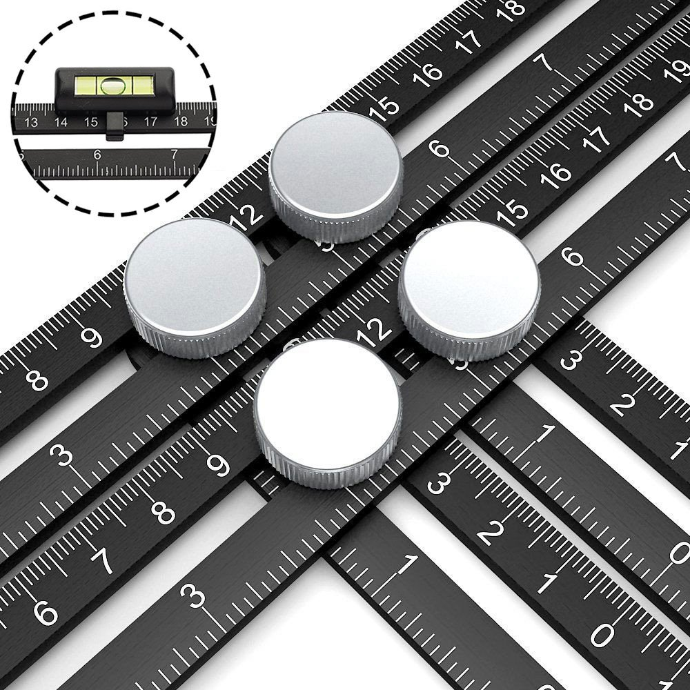 Multi Angle Measuring Ruler, Premium Aluminum Easy Angle Ruler, Adjustable Four-Sided Folding Measuring Tool Angleizer Measurement with 2pcs Horizontal Ruler