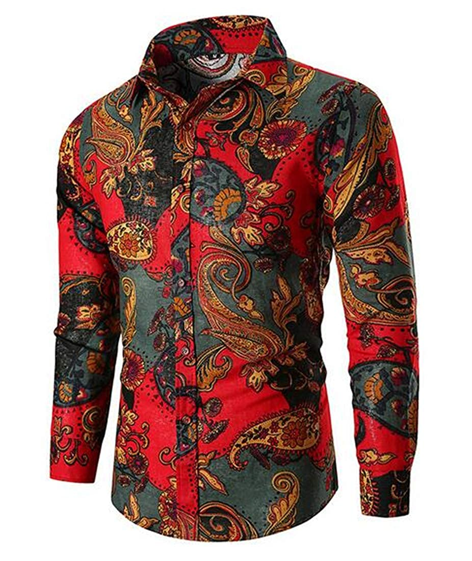 XiaoTianXinMen XTX Mens Classic Floral Print Long Sleeve Oversized Button up Dress Shirts