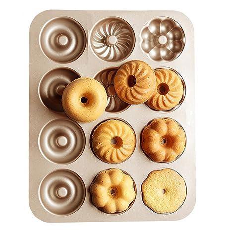 TAMUME Acero al carbono Rosquilla Molde Pan con 12 cavidades, para Hacer 12 Tamaño Completo