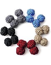 Honey Bear Silk Knot Cufflinks - 5 Pairs Mens Monochrome Set with Gift Case