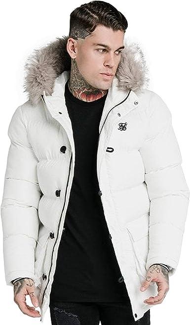 White Sik Silk Mens Designer SS-16233 Rip Stop Puff Parka Hood Jacket