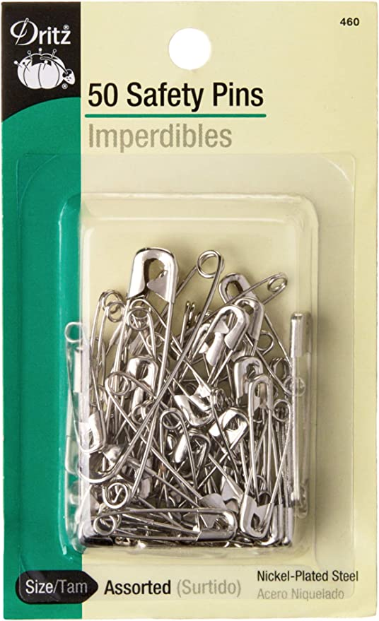Nickel Plated Steel Assorted Sizes 100-Count Dritz 1460 Safety Pins