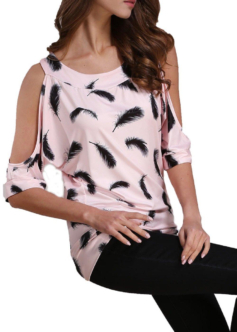 Jusfitsu Women Summer Feather Printed Off Shoulder Short Sleeve Top T-shirt Blouse Pink XL