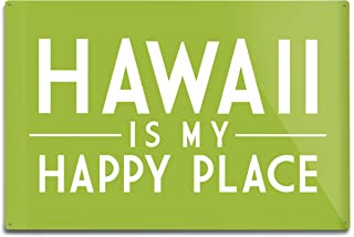 product image for Lantern Press Hawaii is My Happy Place, Simply Said (12x18 Aluminum Wall Sign, Wall Decor Ready to Hang)