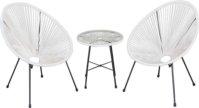 Ensemble Salon de Jardin Design néo-rétro Acapulco 2 fauteuils et Table  Basse Cordage PVC Verre trempé Noir et Blanc
