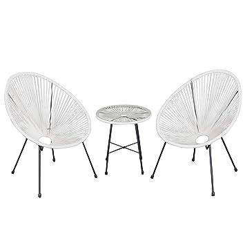 Ensemble Salon De Jardin Design Neo Retro Acapulco 2 Fauteuils Et Table Basse Cordage Pvc Verre Trempe Noir Et Blanc