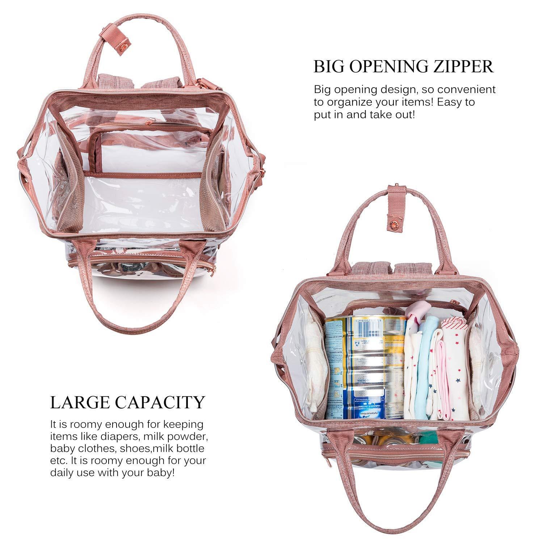 DTBG rosa para mujeres y ni/ñas para viajar Mochila para pa/ñales con bolsa aislante transparente rosa Rosa Talla:grande multifuncional