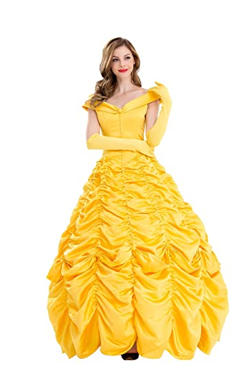 8b442340a2 Amazon.com: VOSTE Belle Costume Dress Halloween Princess Cosplay Party Show  Dresses for Women Girls: Clothing