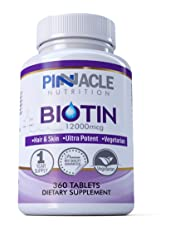 Biotin 360 Tablets-12000mcg-Hair Growth-One Year Supply-Supplement for Beauty Treatment for Men & Women -Vitamin for Regrowth-Not Capsules or Softgels - UK Manufactured