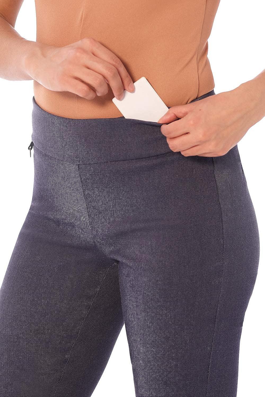 Rekucci Pantaloni Pinocchietto da Donna Gamba Dritta con Controllo Addominale e Tasca Segreta