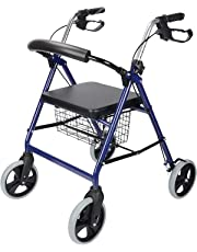 LIVINGbasics™ Four Wheel Walker Rollator with Fold Up Removable Back Support Comes With Soft Padded Seat, Storage Basket and Height Adjustable Handle