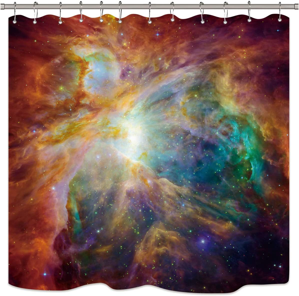 Riyidecor Outer Space Shower Curtain Galaxy Universe Yellow Orange Colorful Psychedelic Planet Nebula Starry Sky Decor Bathroom Set Fabric Polyester Waterproof 72X72 Inch 12 Pack Plastic Hooks