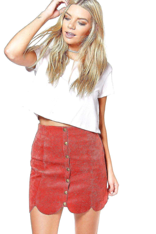 Cinnamon Womens Eloise Scalloped Hem Cord Mini Skirt