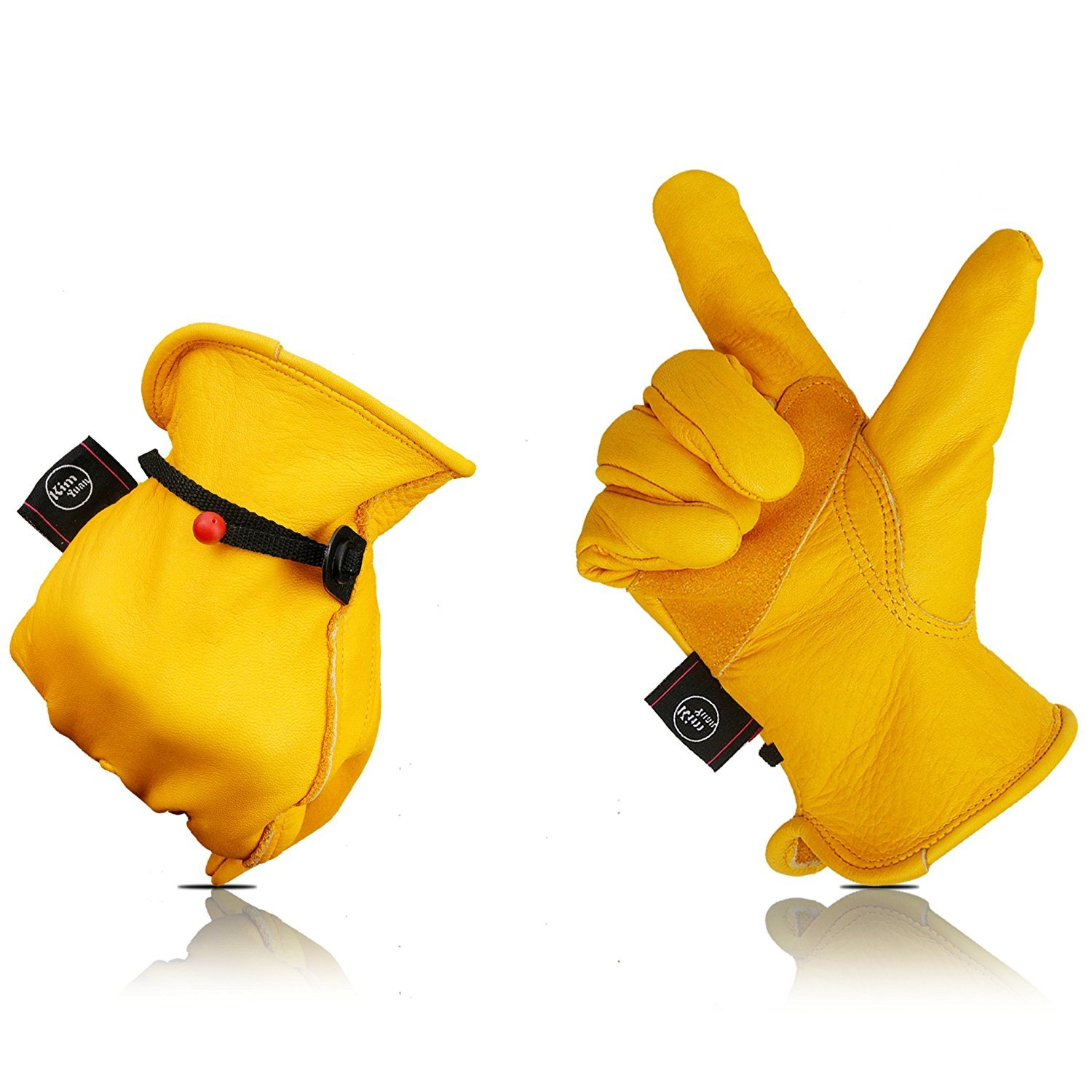 Kim Yuan Leather Work Gloves For Yard Work With Adjustable Wrist F Gardening