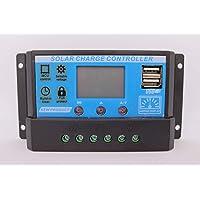 ANFIL Controlador de carga solar PWM 20A 12V/24V Panel Batería Regulador inteligente con puerto USB y pantalla LCD multifunción Parámetros ajustables Protección contra sobrecarga
