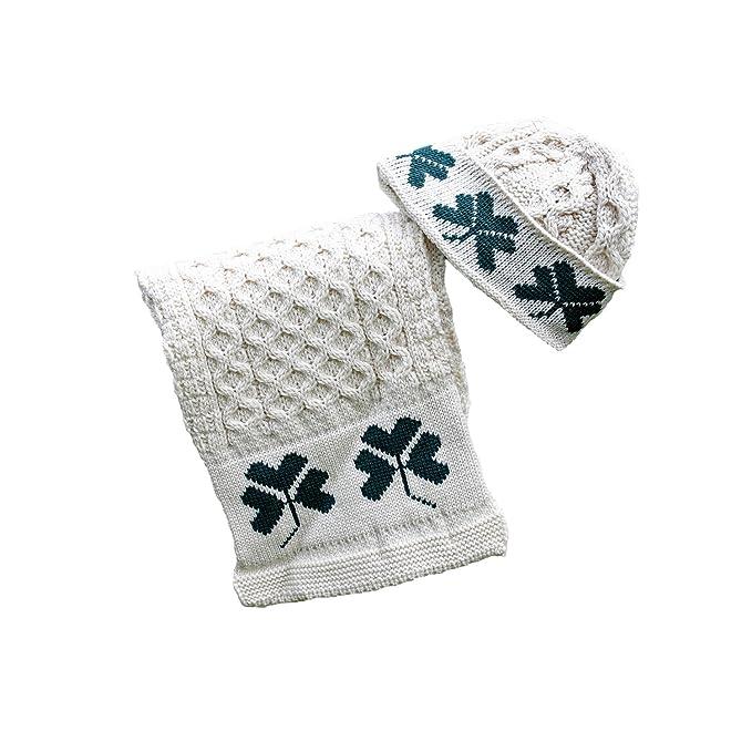 f08edd90b0f 100% Irish Merino Wool Hat   Scarf Set with Shamrock Design  Amazon.ca   Clothing   Accessories