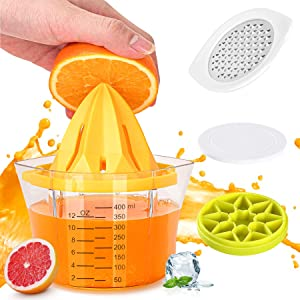 LemonSqueezer Manual Juicer, 5 in 1 Multi-Function Citrus Juicer, 1Easylife Lime Orange Juicer with Measuring Cup, Grater, Anti-Slip Reamer and Ice Tray, Fresh Fruit Press for Bar, Kitchen