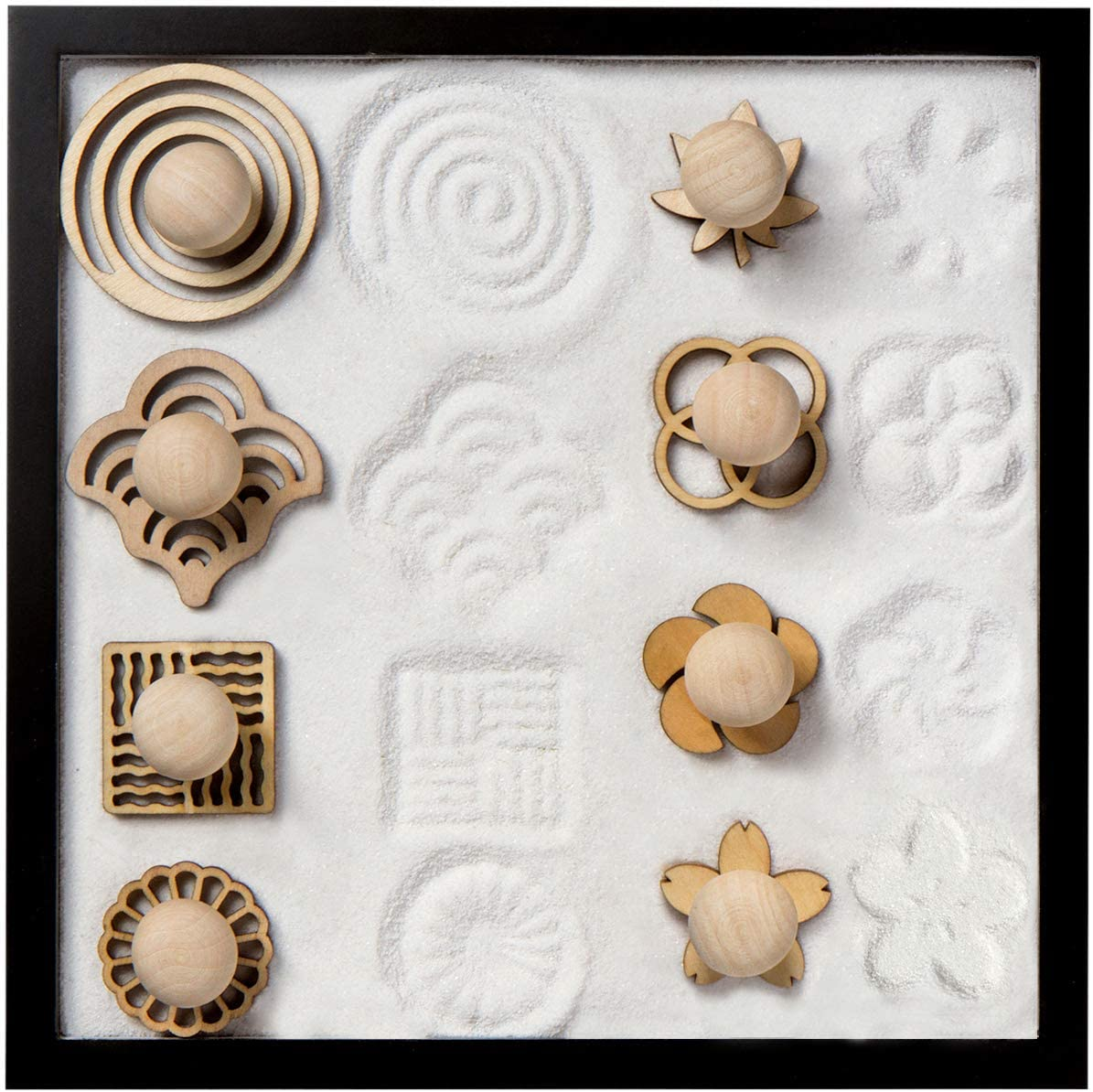 COCORO Mini Sand Stamps for Mini Zen Garden Patterns Include Swirl, Ocean Waves, Parallel Crosses, Rings, Chrysanthemum, Plum Blossom, Red Leaf, Cherry Blossom