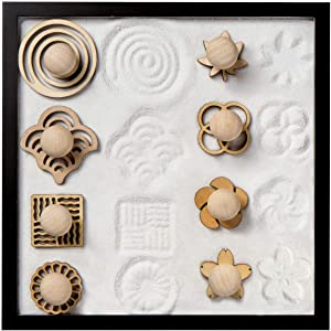 COCORO Mini Sand Stamps for Mini Zen Garden Patterns Include Swirl, Ocean Waves, Parallel Crosses, Rings, Chrysanthemum, Plum Blossom, Red Leaf, Cherry Blossom