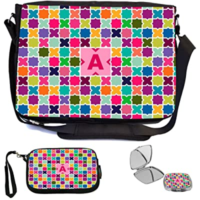 Rikki Knight Letter A Monogram Vibrant Hot Pink Edgy Mosaic Design Design COMBO Multifunction Messenger Laptop Bag - with padded insert for School or Work - includes Wristlet & Mirror