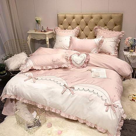 AMY Juego de sábanas, 100% algodón, Antiarrugas, Suave, hipoalergénico, cómoda Cubierta de Cama, Lujoso Juego de 4 Piezas para la Chica del Dormitorio: Amazon.es: Deportes y aire libre