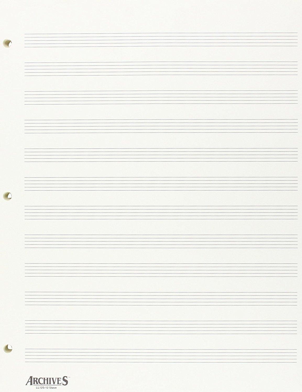 Archives Looseleaf Manuscript Paper 12 Stave 50 Pages