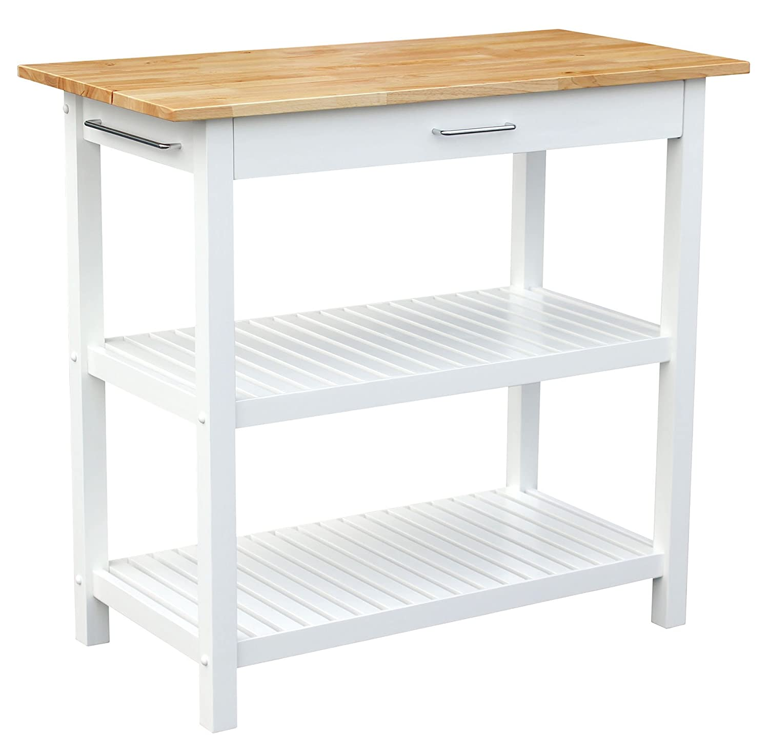 Casual Home Kitchen Island with Solid American Hardwood Top, White ...