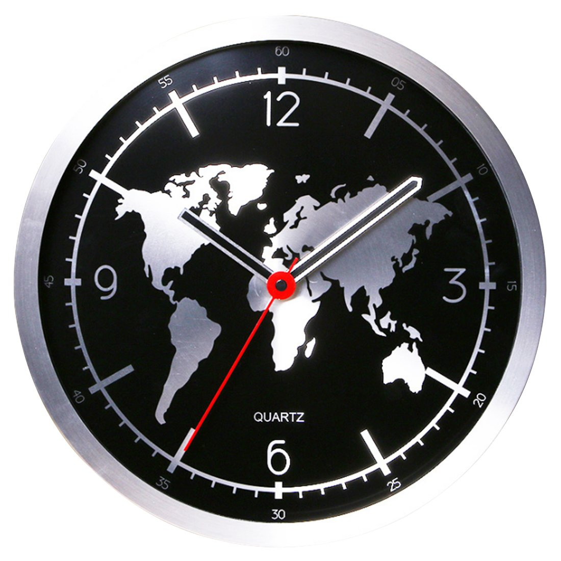 Wall Clock Black, XSHION Modern Wall Clock non Ticking 12 Inch Round Battery Operated World Map Design for Home Office Hotel School