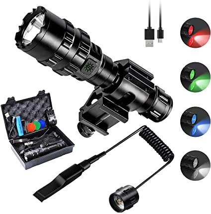 LED Tactical Flashlight with Picatinny Mount 1600LM Bright 5 Modes Opreated