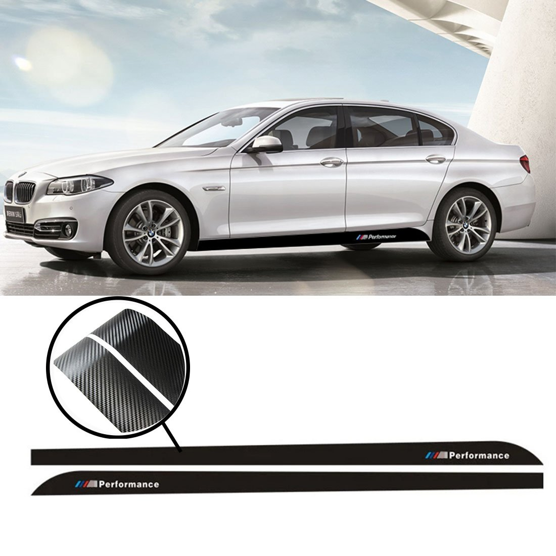 Amazon com kaizen auto decal 2x 2 15m sport m performance carbon fiber side skirt decal stripe sticker for bmw 3 4 5 series f30 f31 f32 f33 f36 e60 e61