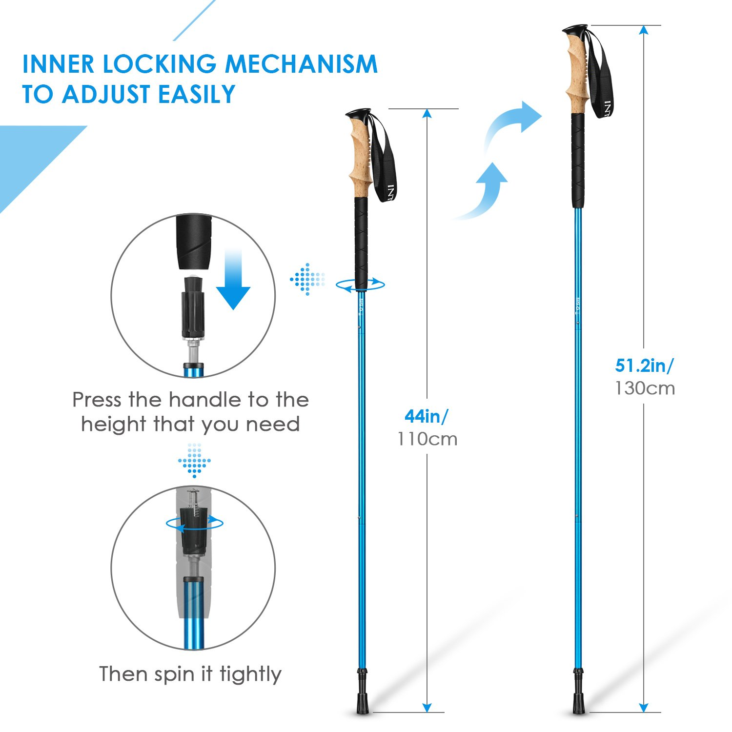 INTEY Trekking Poles Anti Shock Collapsible Walking Sticks for Hiking 2 Pair Grips with Carry Bag