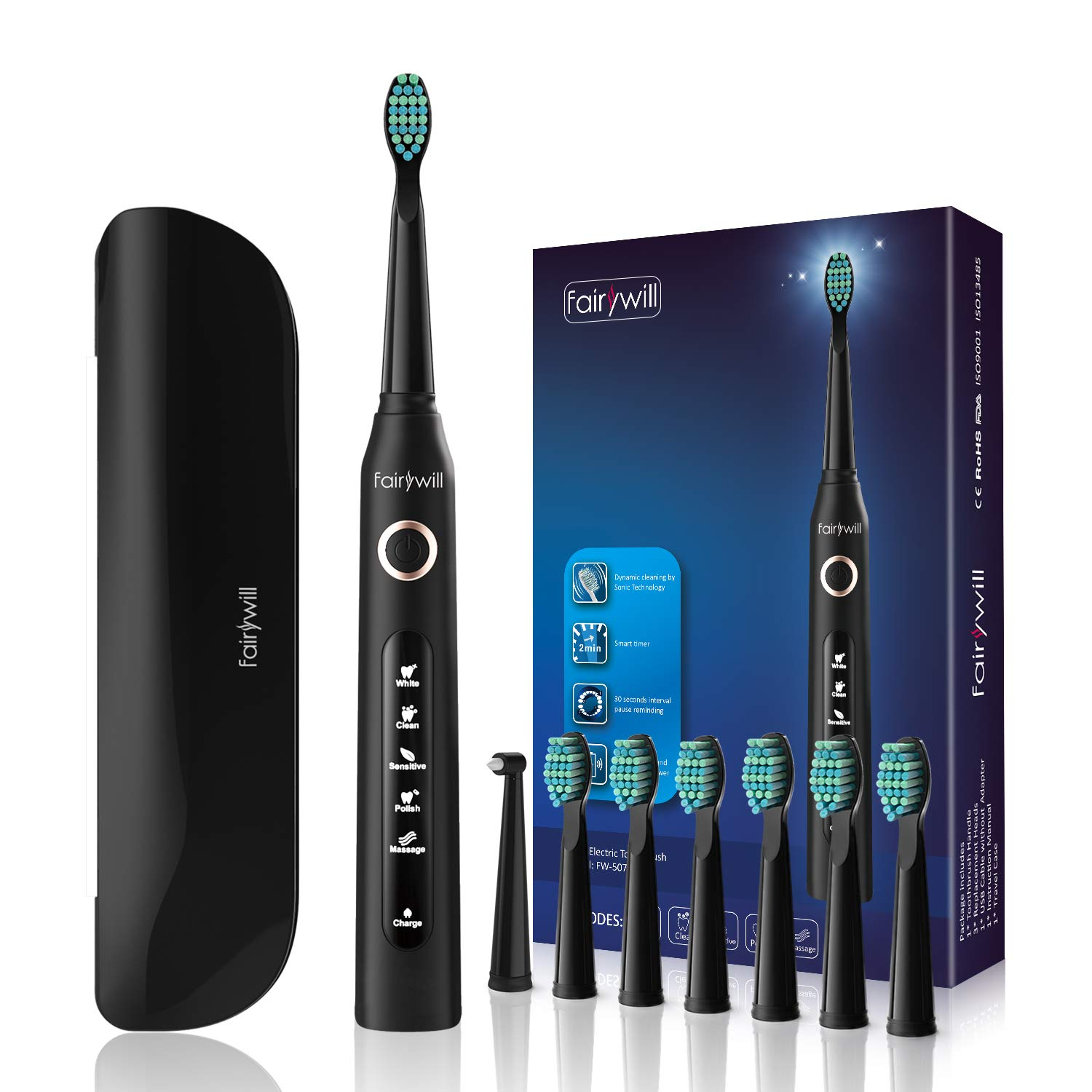 Fairywill Electric Toothbrush with 5 Modes, Smart Timer, 8 Brush Heads