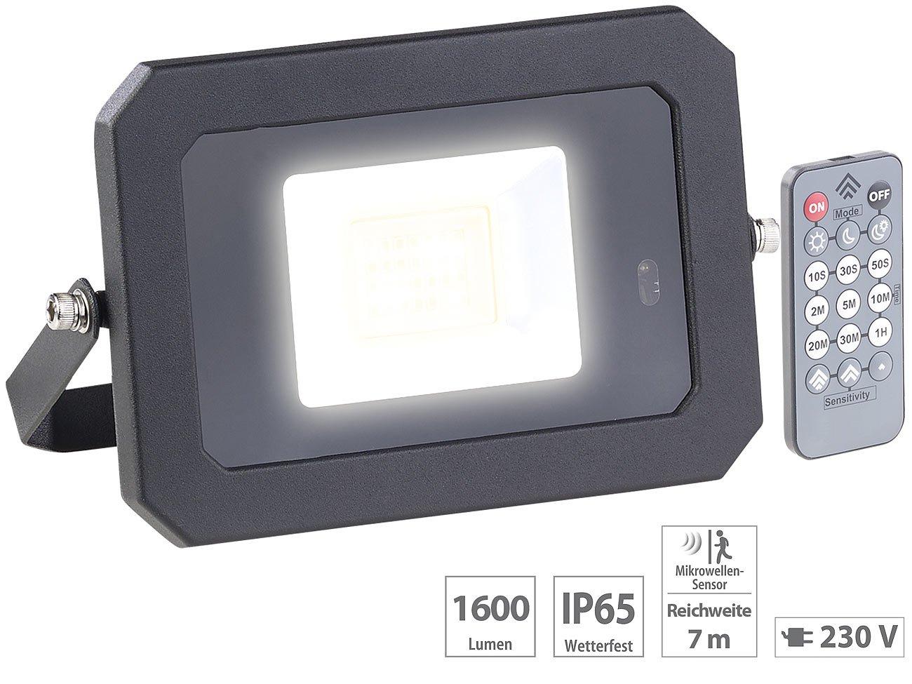 Außenwandleuchte Perel 50W LED Strahler mit Bewegungsmelder und Fernbedienung