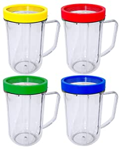 Blendin 4 Pack 16 Ounce Party Mugs Cups with Colored Lip Rings, Fits Original Magic Bullet Blender Juicer 250W MB1001